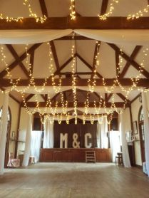 Wedding Lights In A Village Hall, Fairy Light Canopy And Curtain